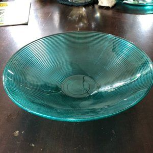 """Teal Glass Dish 11 1/2"""" NEW"""